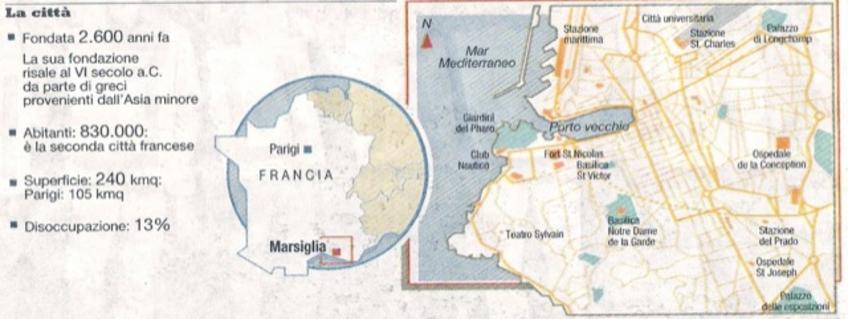 Marsiglia (Francia). Marsiglia città portuale in una pianta attuale, con l'identificazione della città storica di fondazione in  relazione agli ampliamenti successivi.