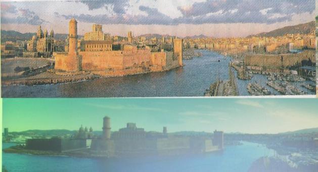 Marsiglia città portuale. L'entrata al vecchio porto prima e dopo i grandi lavori degli anni 2000 e la costruzione dei due musei sull'area della J4 innanzi la cattedrale della Major.