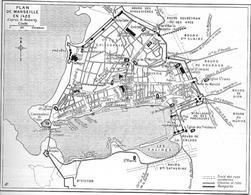 Marsiglia. Pianta della città portuale di Marsiglia e del suo porto naturale nel 1423 (da T. Colletta, Città portuali…, 2012).