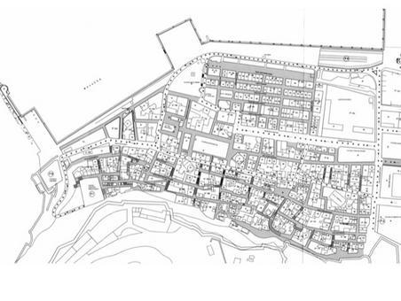 Nafplio. Grecia. Il  piano della città storica con l'individuazione delle strade pedonali nel sistema del tessuto stradale antico.