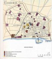 """Barcellona e il grande ampliamento urbano del Raval e la costruzione del nuovo molo al porto. (da """"Atlante Historico"""" in T. Colletta, Napoli città portuale…, 2006)"""