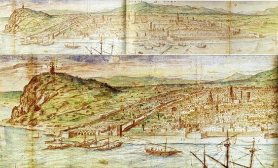 Barcellona città portuale nella veduta di Antoine Van Wingaerde del 1563 e il particolare  con le mura quattrocentesche gli Arsenali reali in primo piano (da T. Colletta, Napoli città portuale… 2006)