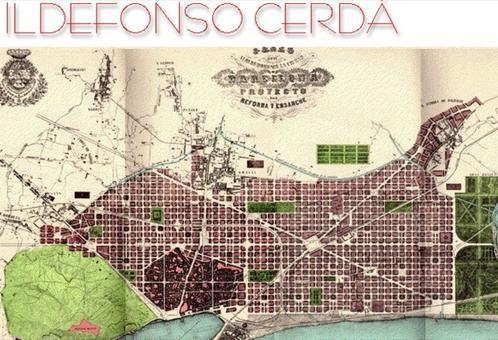 Barcellona città portuale e il grande piano di ampliamento della fine dell'Ottocento (da I. Cerdà, Theoria de l'urbanization…… Barcellona 1898).