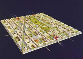 """Barcellona Gli """"isolati"""" del piano Cerdà. La grande innovazione della città di Cerdà sta nella concezione delle vie e degli isolati. Secondo lui la vita urbana si compone di due funzioni essenziali: il movimento e la stasi. L'isolato è il luogo della residenza individuale e familiare; la via è il luogo della comunicazione con il mondo esterno."""