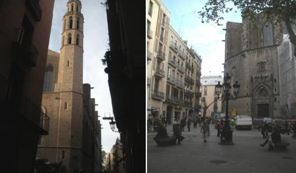 Barcellona città portuale. La chiesa e l'alto campanile che si erge sulla facciata di santa Maria del Mar nel quartiere della Ribera, totalmente rinnovato ad uso pedonale (foto dell'a. 2009)