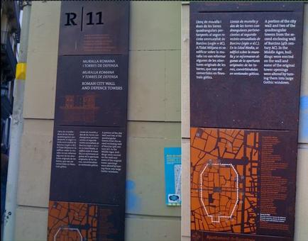 Barcellona. La cinta muraria d'epoca romana nella cartellonistica urbana (foto dell'a. 2009)