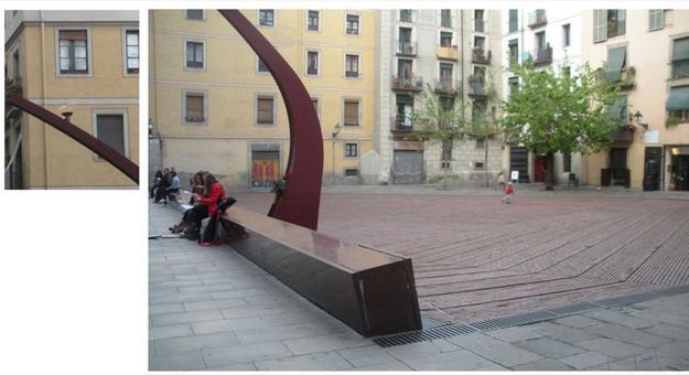 Barcellona città portuale. Il quartiere de la Ribera rinnovato e valorizzato. La piazzetta rinnovata nella pavimentazione e nel disegno dell'arredo urbano dello spazio aperto con una creativa illuminazione centrale e spazi per la sosta. Un rinnovo urbano creativo e sostenibile (foto dell'a. 2009)