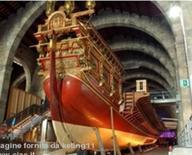 Barcellona. l museo marittimo nei grandi spazi degli antichi arsenali reali.