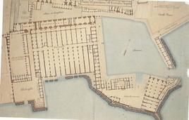 La Base Navale  e gli Arsenali vicereali ad 11 campate alla metà del sec. XIX  in un disegno della Biblioteca Nazionale di Napoli (da G.E. Rubino, Le fabbriche del Sud….1990).