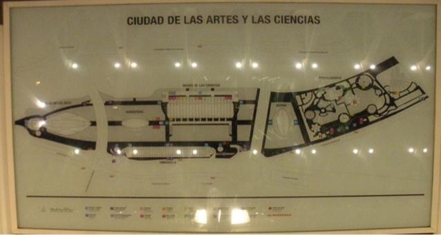 Valencia città porto. La città delle Scienze e delle Arti con tutte le Architetture monumentali di Calatrava costruite nell'alveo del fiume Turia negli 2004-2010 (piante da cartellonistica in loco, foto dell'a. 2010)