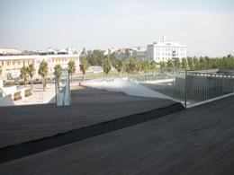 Valencia: la fascia a giardino che si ricollega alla strada litoranea e alla spiaggia. In fondo il grande albergo (foto dell'a. 2010)