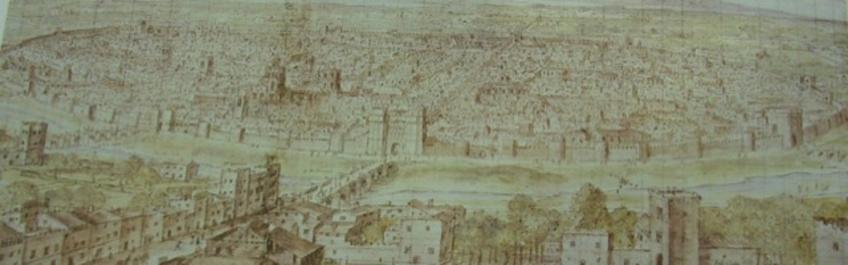 """Valencia città porto fluviale. Il  Fronte Fiume di Valencia nel 1577 nella veduta di Anton Wingaerde, è evidente la cinta muraria turrita e la porta urbana al termine del ponte sul fiume Turia  (da T. Colletta, a cura di, """"Storia dell'urbanistica"""" n. IX, 2009)"""