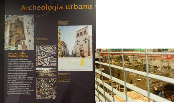 """Napoli, Stazione del Metrò """"Toledo"""" e la """"scoperta"""" della murazione aragonese tardo quattrocentesca, in una foto scattata nel 2011 al momento del ritrovamento e nei pannelli didattici all'interno della stazione del Metrò ( foto dell'a. 2011 e 2013)"""