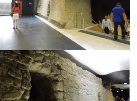 Parte della murazione aragonese di Napoli tardo quattrocentesca,scoperta durante i lavori e restaurata in sede (foto dell'a. 2013)
