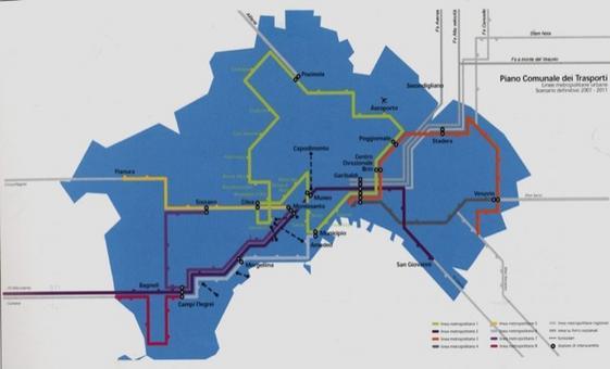 Il progetto di riabilitazione della mobilità urbana. Il Diagramma delle 9 Linee  della Metropolitana di Napoli. In giallo l'Anello della Linea 1 attraversante il centro storico.