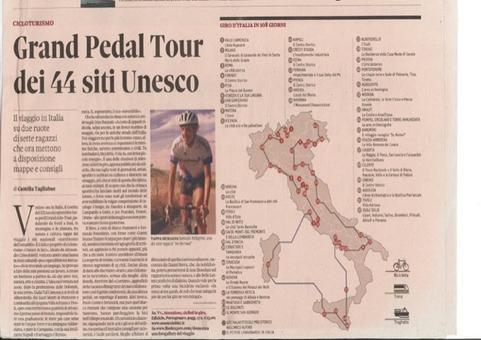 """La creatività nel turismo culturale. La Promozione  dei 44 Siti Italiani inseriti nella W.H.L dell'UNESCO  con il Grande Pedal Tour in bicicletta. (dal """" Il Sole 24 Ore"""", 2013)"""