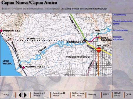 Il territorio  del Volturno e l'infrastrutturazione romana della città di Capua, oggi Santa Maria Capua Vetere,   e di Casilinum a capo del ponte sul fiume Volturno in periodo romano.