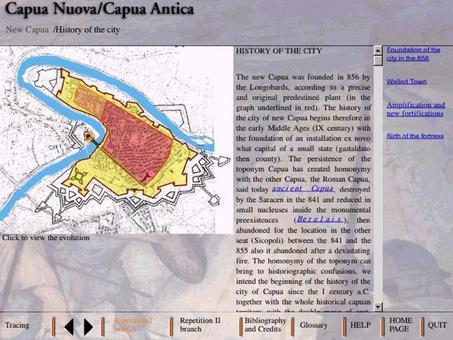 La pianta con le successive fasi della storia della città di Capua nuova sul Volturno  e delle sue fortificazioni: prima longobarde, poi vicereali con il castello di Carlo V e poi austriache.