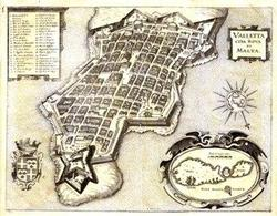 L'impianto reticolare di La Valletta a Malta del 1566 ( da T.Colletta, Il Theatrum urbium…,op.cit.).