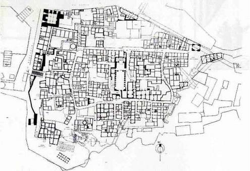 Pozzuoli, Pianta del Rione Terra prima degli interventi degli anni 2000 (da T. Colletta, Pozzuoli città fortificata…op.cit, 1987).