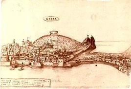 Gaeta. Veduta prospettica dal mare tardo cinquecentesca (da T. Colletta, Il rafforzamento …2007).