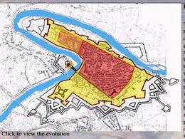 Capua, Pianta della città storica e fasi della sua evoluzione in colori diversi: dalla città fondata longobarda alla città forte vicereale (da T. Colletta, (a cura di)  CDRom Capua antica – Capua nuova, 2000).