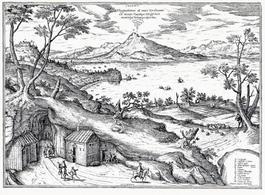 La cartografia ornamentale: Napoli da Posillipo di Joris Hoefnagel (da T. Colletta, Atlanti di città del Cinquecento, Napoli, ESI, 1985).