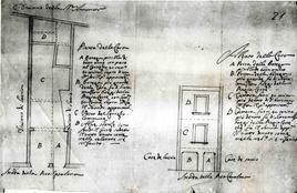 Napoli, pianta e sezione di una casa a Rua Catalana. Proprietà  monastica e quindi nell'Archivio dell'ordine religioso. (da T. Colletta, Napoli città portuale e mercantile…, 2006, cap.III).