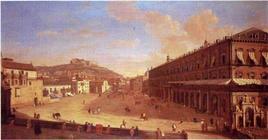 La rappresentazione iconografica di un luogo urbano in un preciso momento storico: G. Van Wittel, Largo di Palazzo a Napoli, metà del XVIII secolo (da T. Colletta, Piazza Plebiscito a Napoli, 2004).