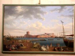 La pittura di paesaggio: F. Hackert, Città portuale fortificata, alla metà del Settecento  (Caserta, Palazzo reale, foto dell'a. 2007).