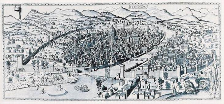 Firenze. La veduta della Catena del 1472. Il punto di vista dalla collina di Monteoliveto dove staziona l'osservatore, con un cono visuale di 60 gradi, dimostra il rapporto tra realtà topografica odierna, proiezione prospettica e rappresentazione nella veduta dello spazio costruito della città storica.