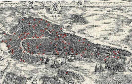 """La """"VENEZIA MD"""" la grande cartografia urbana di Venezia di Jacopo dè Barbari del 1500."""