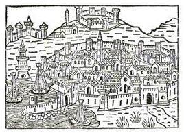 Napoli nell'Immagine simbolico – prospettica tratta dal testo di J.F. Foresti, Venezia 1520.