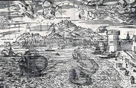 Napoli. Veduta dal Torrione del Carmine inserita nella Cosmographia di S. Munster della metà del Cinquecento (da T. Colletta, Atlanti..,1984).