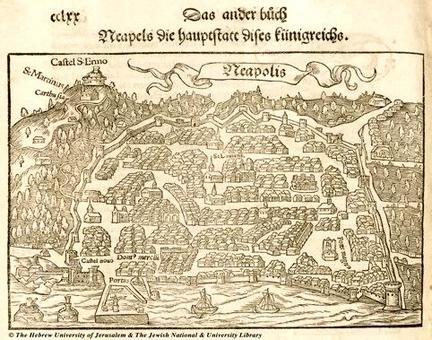 Napoli. Pianta prospettica inserita nel volume in edizione tedesca di S. Munster: La  Cosmographia, Colonia 1590 (collezione privata).