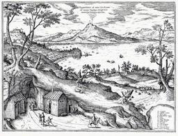 Napoli da Posillipo con il Vesuvio al centro nell'immagine di Joris Hoefnagel per il Theatrum Urbium del 1578.