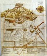 """Napoli, mappa pre-catastale del territorio di """"Campanoro"""" proprietà religiosa, oggi i quartieri spagnoli (da T. Colletta. Napoli La cartografia pre-catastale…, 1985)."""