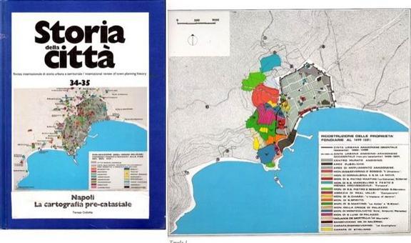 """La cartografia ricostruttiva / interpretativa """"costruita""""  dallo storico dell'urbanistica (da T. Colletta. Napoli. La cartografia pre-catastale…,1985)."""