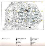 """L'impianto originario di Neapolis greca nella carta archeologica simbologica""""  della città antica di Napoli (da Catalogo della mostra """"Napoli antica"""", 1985)."""
