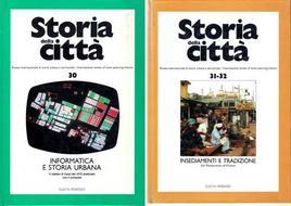 """Copertine di due numeri della rivista """"Storia della città"""" che affrontano il tema delle nuove fonti per l'indagine storico-urbanistica."""