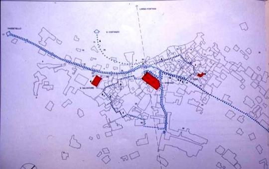 La ricostruzione planimetrica degli itinerari processionali: l'identificazione  dei percorsi preferenziali nel centro urbano di Capri (da T. Colletta, Capri.., 1990).