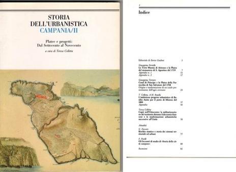 """Copertina ed Indice  del volume II della Rivista """"Storia dell'Urbanistica/Campania""""."""