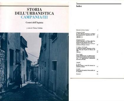 """Copertina ed Indice  del volume III della Rivista """"Storia dell'Urbanistica/Campania""""."""