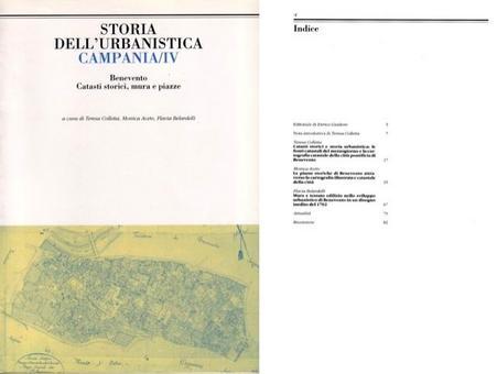 """Copertina ed Indice  del volume IV della Rivista """"Storia dell'Urbanistica/Campania""""."""