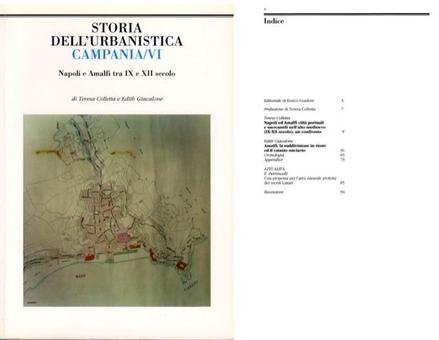 """Copertina ed Indice  del volume VI della Rivista """"Storia dell'Urbanistica/Campania""""."""