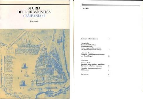Copertina e indice del I volume di Storia dell'urbanistica Campania, 1987, dedicato a Pozzuoli e ai Campi Flegrei.