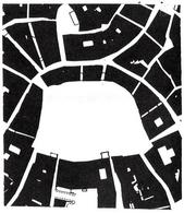 """Siena; planimetria della zona del Campo; è evidente la figura della piazza """"ritagliata"""" a posteriori nel tessuto viario (rapp. 1:2000). da E. Guidoni, L'Assialità e l'Allegoria p. 255)"""