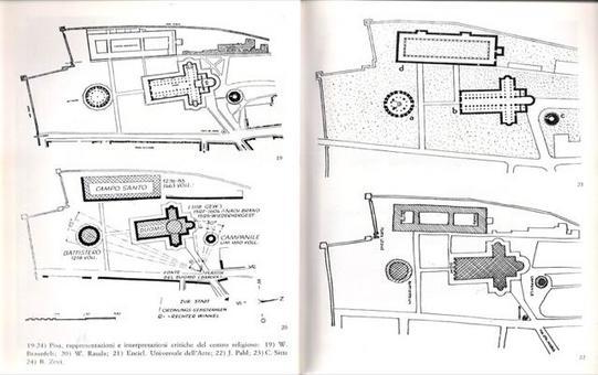 Pisa. Le varie planimetrie della piazza dei miracoli  nelle  rappresentazioni ed interpretazioni critiche del centro religioso di W. Braunfels, W. Rauda, Enc.Univ.Arte, J. Pahl, C.Sitte e B. Zevi.