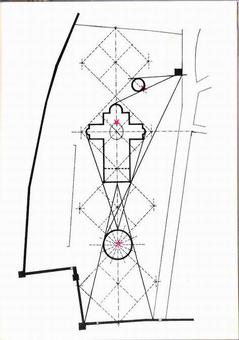 """Pisa. La rappresentazione in planimetria della """"Costellazione dell'Ariete"""" con le stelle rosse e lo schema planimetrico a quadrati diagonali con la localizzazione degli edifici monumentali."""