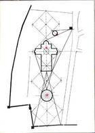 """Pisa. La rappresentazione in planimetria della """"Costellazione dell'Ariete"""" con le stelle rosse e lo schema planimetrico  con la localizzazione degli edifici monumentali."""